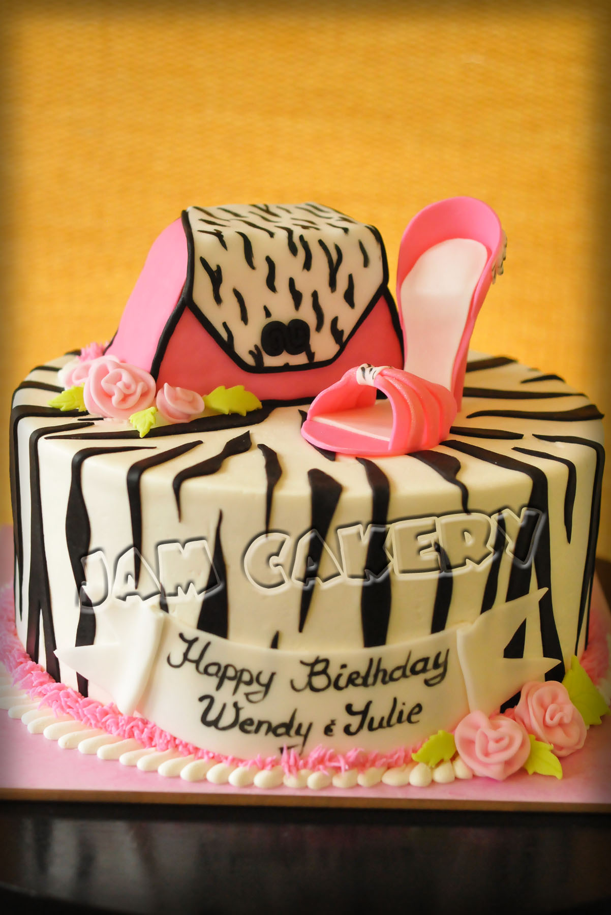 Zebra purse and shoe birthday cake JAM Cakery