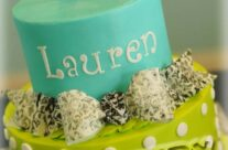 Damask accents birthday cake