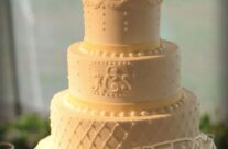 Combination design/monogram wedding cake