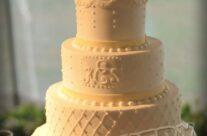 Combination design/monogram wedding cake