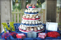 Ole Miss cupcake tower
