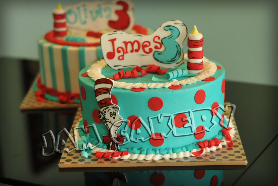 Wondrous Dr Seuss Party For Twins 1 J A M Cakery Funny Birthday Cards Online Sheoxdamsfinfo