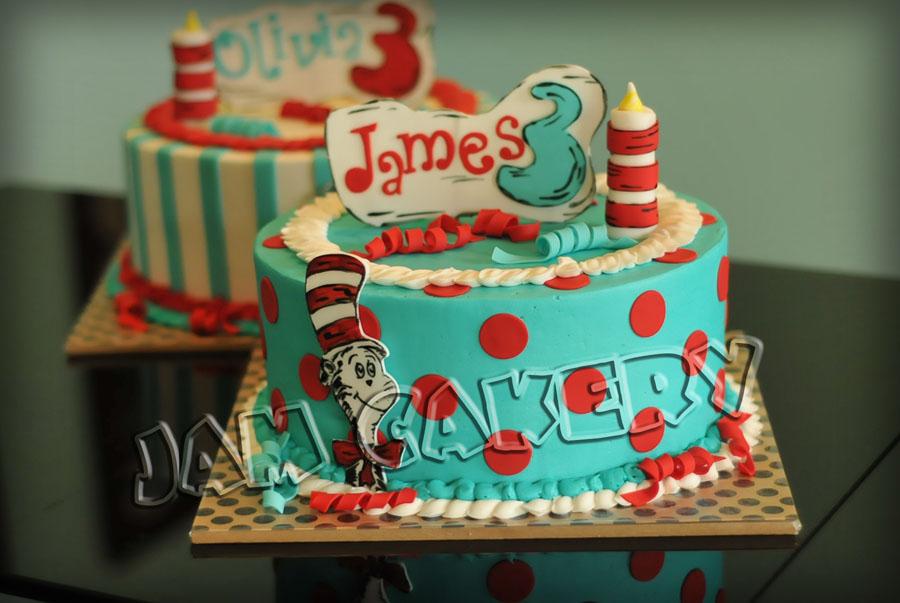 Fabulous Dr Seuss Party For Twins 1 J A M Cakery Funny Birthday Cards Online Aboleapandamsfinfo